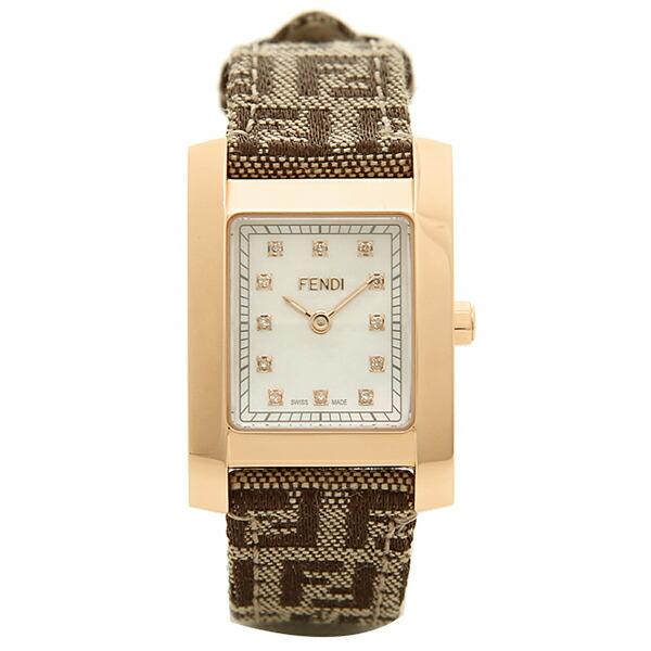 【6時間限定ポイント10倍】【返品OK】フェンディ 時計 レディース FENDI F704242DF クラシコ ズッカ柄 腕時計 ウォッチ ブラウン/ゴールド/ホワイト