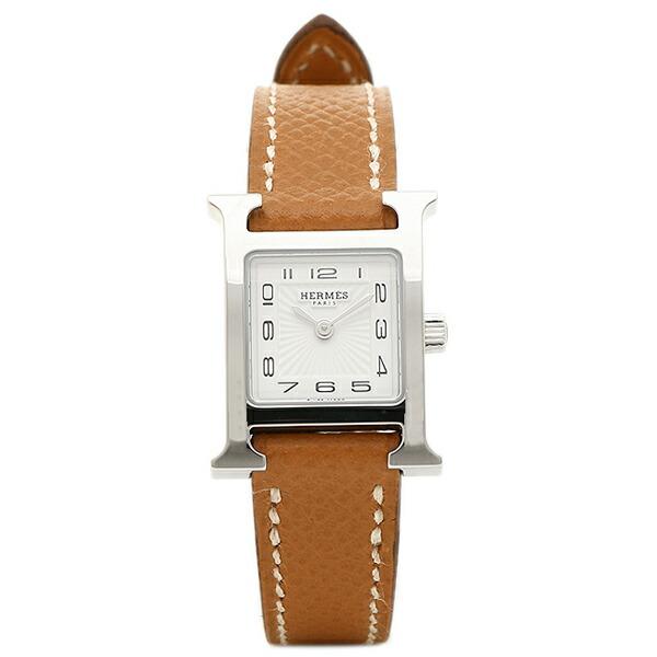 【6時間限定ポイント10倍】エルメス 腕時計 HERMES HH1.110.131/UGO W037875WW00 Hウォッチ ミニ ブラウン レディース ホワイト シルバー