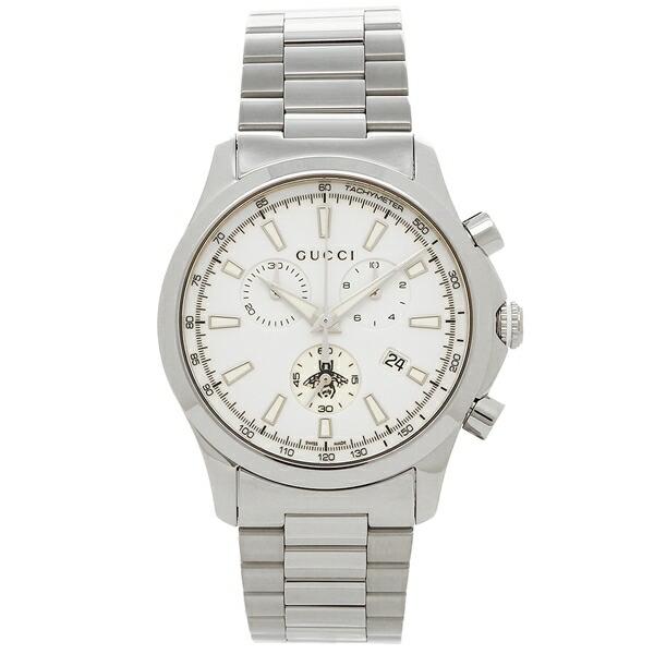 【198時間限定ポイント10倍】【返品OK】グッチ 腕時計 メンズ GUCCI YA126472 ホワイト シルバー