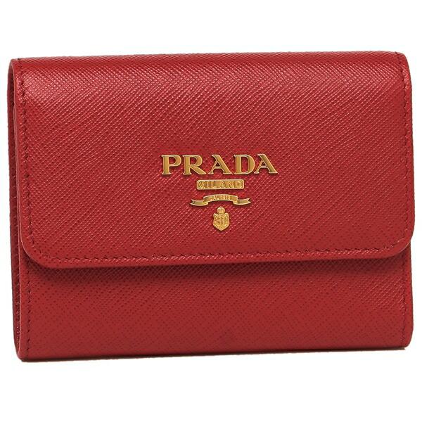 PRADA 折財布 レディース プラダ 1MH840 QWA F068Z レッド