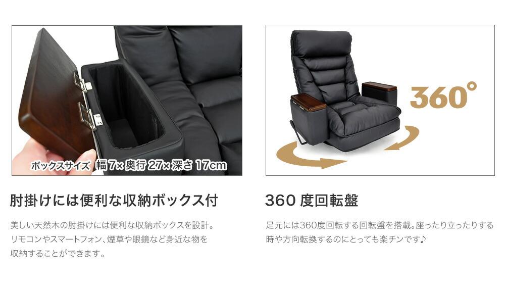 座椅子 ハイバック 一人掛け レバー式リクライニング ヘッドリクライニング