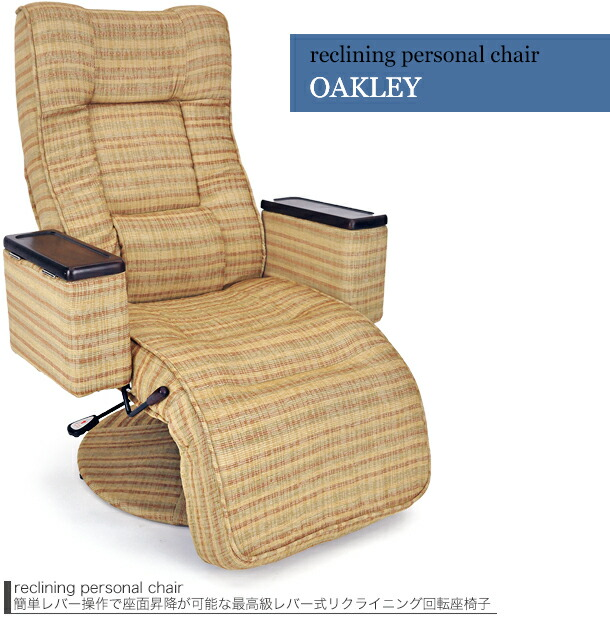 座椅子 座いす リクライニングチェア 高級ガスシリンダー式昇降レバー式無段階リクライニングチェア オークリーBR色