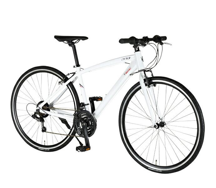 自転車 配送先一都三県一部地域限定送料無料 クロスバイク MASERATI AL-CRB 7021 urban ホワイト 700C 21段変速ギア マセラティ 700×28C アルミダイヤモンド 通販 おしゃれ