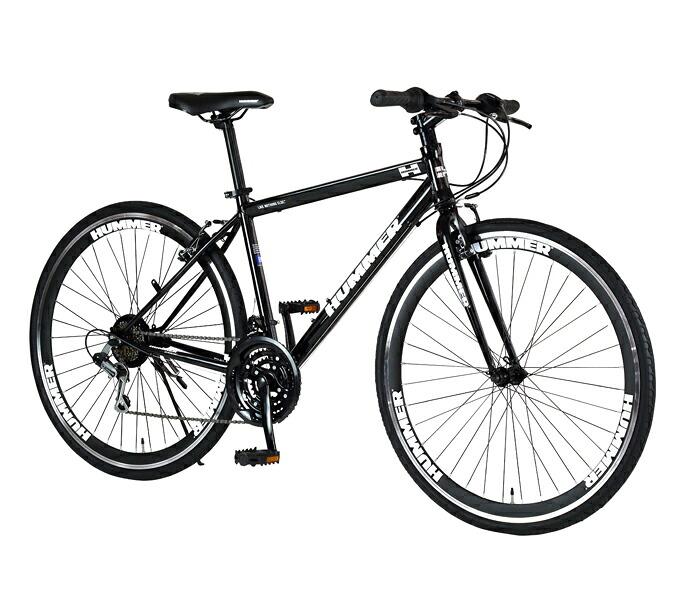 自転車 配送先一都三県一部地域限定送料無料 クロスバイク HUMMER CRB7018DR ブラック 700C 18段変速ギア 700×32C ハマー ディープリム 通販 おしゃれ