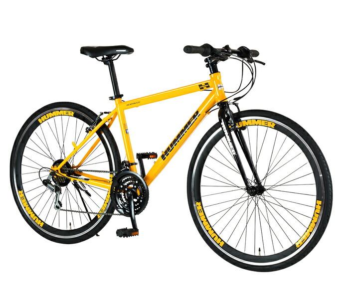 自転車 配送先一都三県一部地域限定送料無料 クロスバイク HUMMER CRB7018DR イエロー 700C 18段変速ギア 700×32C ハマー ディープリム 通販 おしゃれ