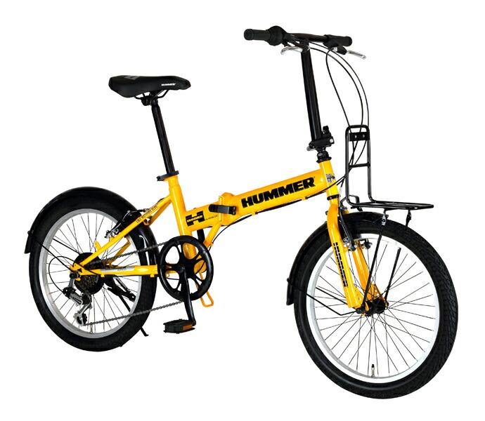 自転車 配送先一都三県一部地域限定送料無料 折りたたみ自転車 HUMMER FDB206 TANK-N イエロー 20インチ 6段変速ギア ハマー 折りたたみ 20×2.25 通販 おしゃれ