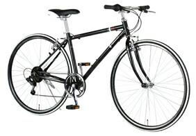 自転車 配送先一都三県一部地域限定送料無料 クロスバイク RENAULT AL-CRB 7006-LIGHT ブラック 700C 6段変速ギア 700×28C シンプル アルミフレーム 通販 おしゃれ