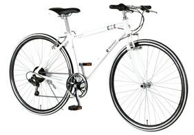自転車 配送先一都三県一部地域限定送料無料 クロスバイク RENAULT AL-CRB 7006-LIGHT ホワイト 700C 6段変速ギア 700×28C シンプル アルミフレーム 通販 おしゃれ
