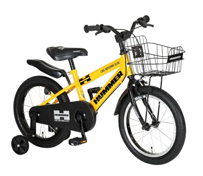自転車 配送先一都三県一部地域限定送料無料 子供用自転車 HUMMER KIDS 16-OH イエロー 16インチ ハマー 補助輪付き 子供用 ジュニアバイク 幼児用自転車 通販 おしゃれ