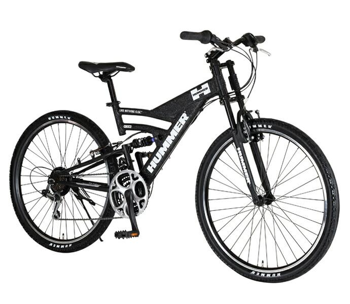 自転車 配送先一都三県一部地域限定送料無料 マウンテンバイク HUMMER DH2618-E Wブラック W-Black 26インチ 18段変速ギア ハマー ダブルサスペンション 軽量 通販 おしゃれ