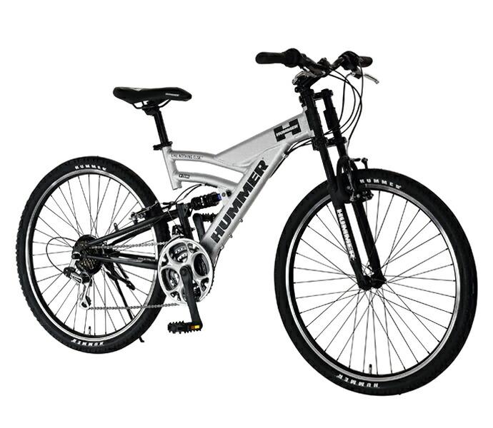 自転車 配送先一都三県一部地域限定送料無料 マウンテンバイク HUMMER DH2618-E Wシルバー W-Silver 26インチ 18段変速ギア ハマー ダブルサスペンション 軽量 通販 おしゃれ