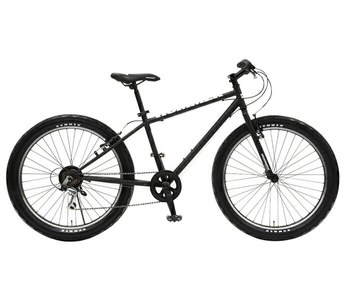 自転車 配送先一都三県一部地域限定送料無料 ファットバイク HUMMER TANK3.0 Wブラック W-Black 26インチ 6段変速ギア ハマー 26×3.0 極太タイヤ 通販 おしゃれ