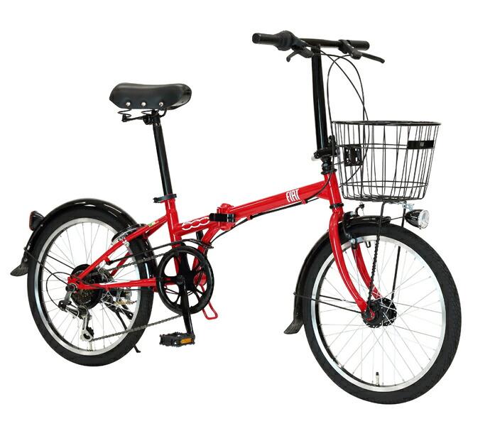 自転車 配送先一都三県一部地域限定送料無料 折りたたみ FIAT FDB 206 L レッド 20インチ 6段変速ギア フィアット 折りたたみ自転車 フォールディングバイク オートライト