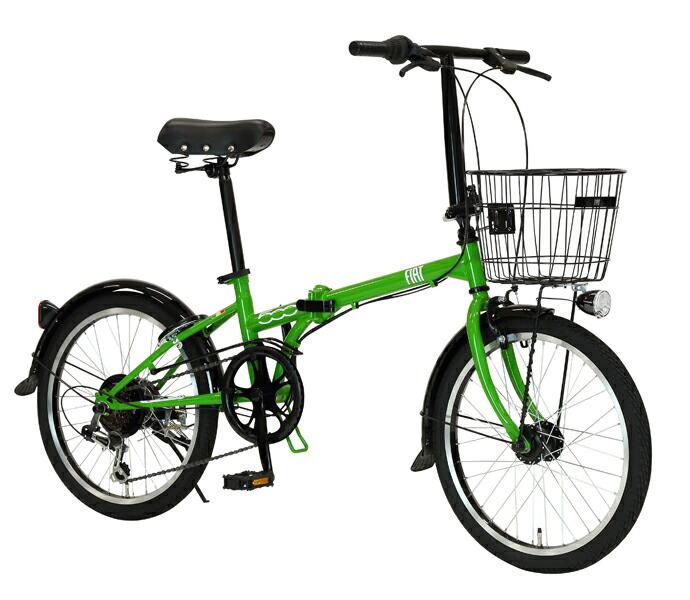自転車 配送先一都三県一部地域限定送料無料 折りたたみ FIAT FDB 206 L グリーン 20インチ 6段変速ギア フィアット 折りたたみ自転車 フォールディングバイク オートライト