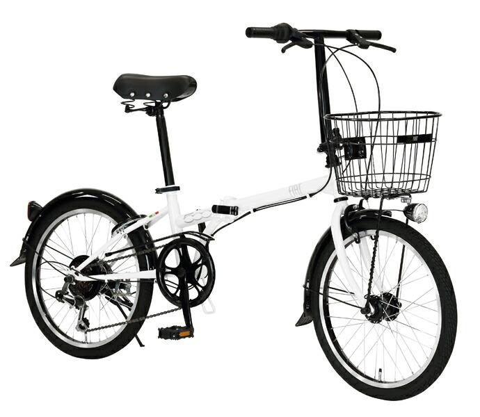 自転車 配送先一都三県一部地域限定送料無料 折りたたみ FIAT FDB 206 L ホワイト 20インチ 6段変速ギア フィアット 折りたたみ自転車 フォールディングバイク オートライト