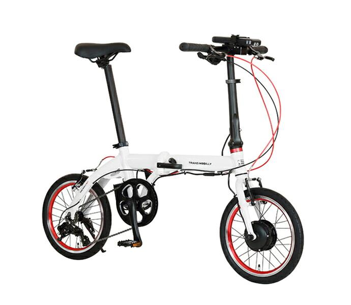 自転車 配送先一都三県一部地域限定送料無料 電動アシスト自転車 折りたたみ トランスモバイリー TRANS MOBILLY ULTRA LIGHT E-BIKE NEXT 163 ( AL-FDB163E ) ホワイト 16インチ コンパクト 軽量