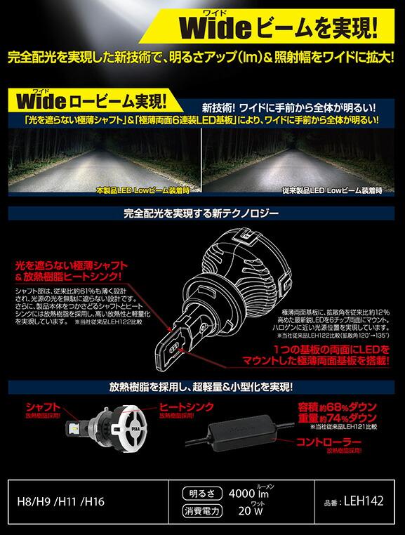ヘッド&フォグライト用LEDバブル6000K H8/H9/H11/H16タイプ