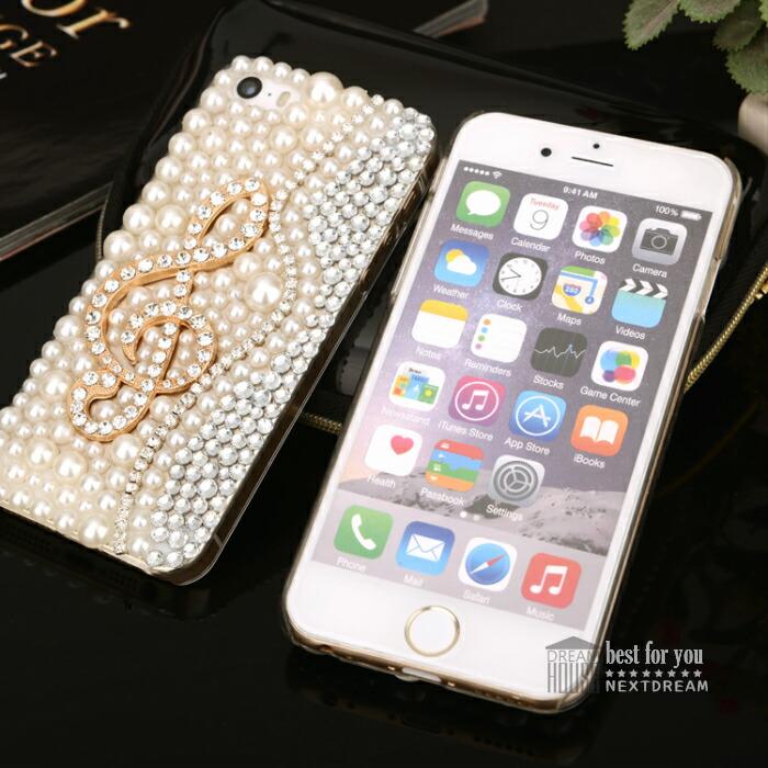 iPhone7ケース iPhone7 iphone 7 iPhone7 Plus iphone7 Plus iphone6 iphone6Plus iphoneSE Xperia X Performance スマホケース 背面ケース 背面カバー デコケース ト音記号 音符 ビジュー パールケース ハードケース カワイイ スワロフスキー  宝石 デコ スマホケース