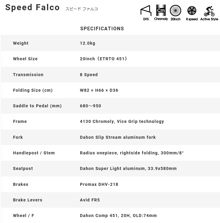 Speed Falco 2019 スピードファルコ dahon DAHONN ダホン