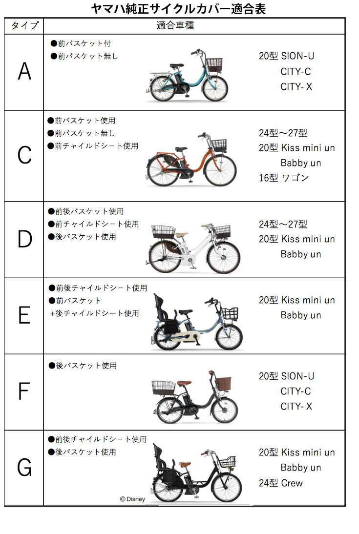 ヤマハ純正サイクルカバー適合表