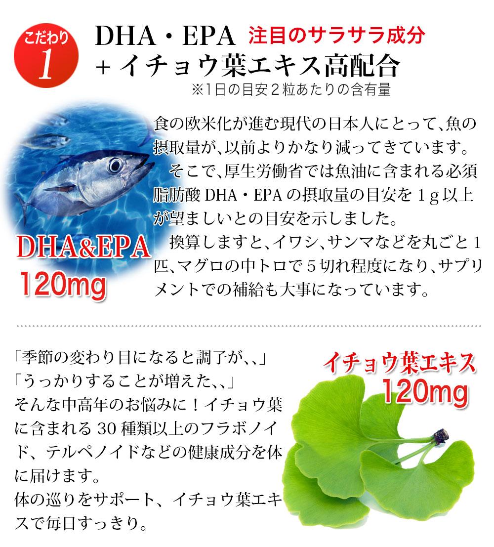 DHA EPA オメガ3 イチョウ葉 イチョウ葉エキス 大豆レシチン ビタミンE イチョウ スッキリ成分