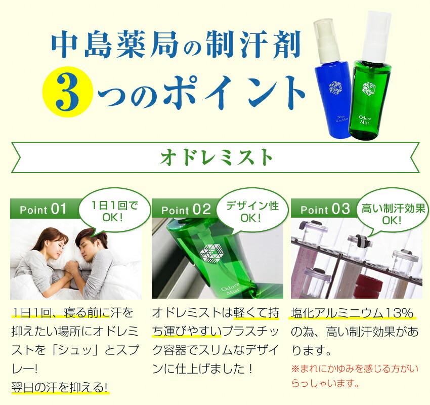 中島薬局の制汗剤3つのポイント