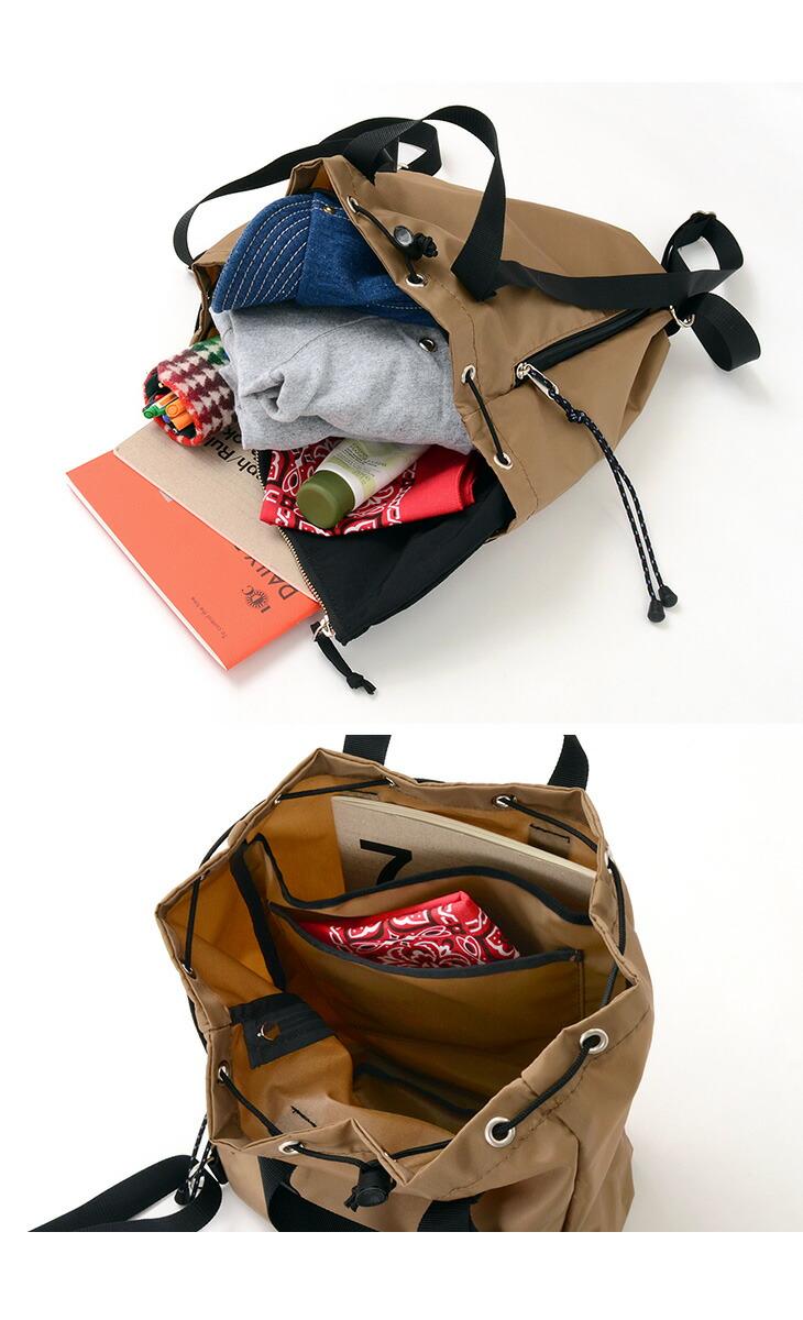 876d2dbebf56 薄手の衣類、ポーチ、書類等がすっきり収まり、口が大きく開くので荷物の出し入れもスムーズ。トップ部分は巾着仕様なので、収納する荷物の増減に柔軟に対応します。