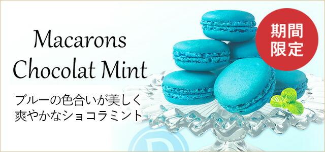 期間限定 ブルーの色あいが美しいショコラミントマカロン