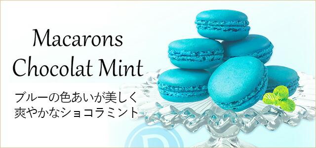 ブルーの色あいが美しいショコラミントマカロン