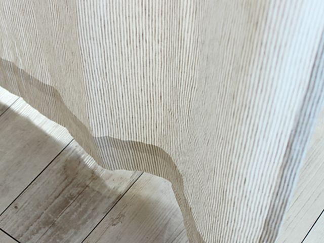 レトロデザインカーテン 上フリル オレンジ ピンストライプ