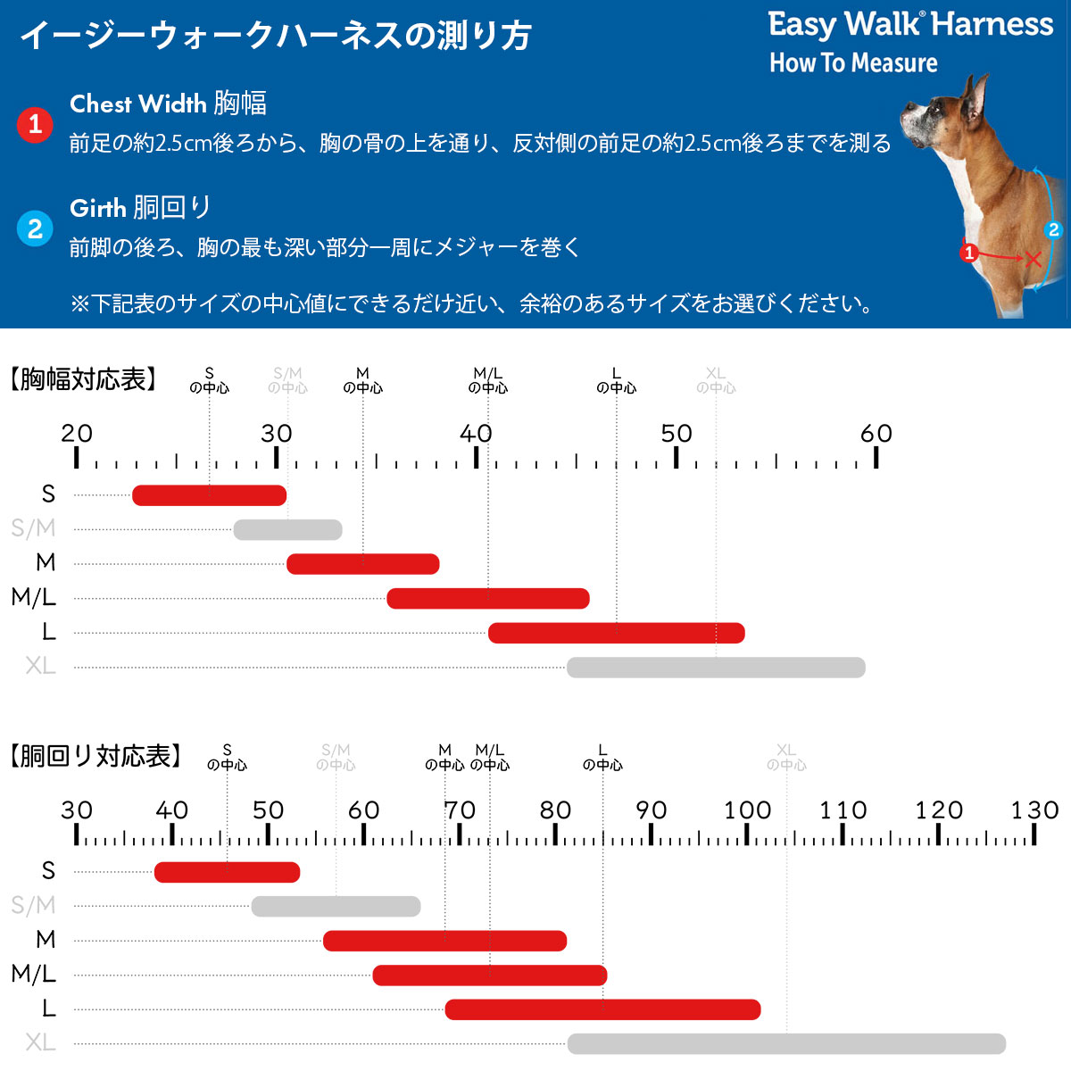 サイズの測り方と対応表