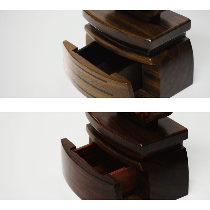 黒檀、紫檀、メープルの重厚な質感が美しい、引き出し付きお位牌「萌」
