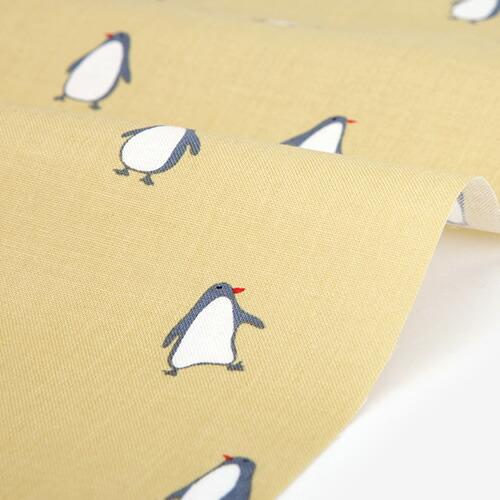 コットン生地 Penguin - yellow