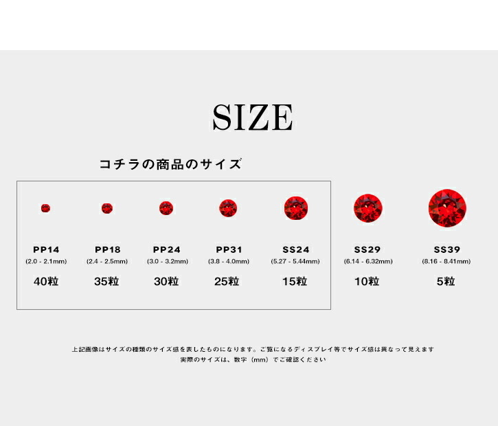 スワロチャトンのサイズ/入数について