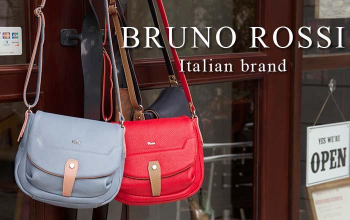 イタリア・BRUNO ROSSI(ブルーノロッシ)/ショルダーバッグ 斜めがけバッグ ポシェット バイカラー 収納力 本革