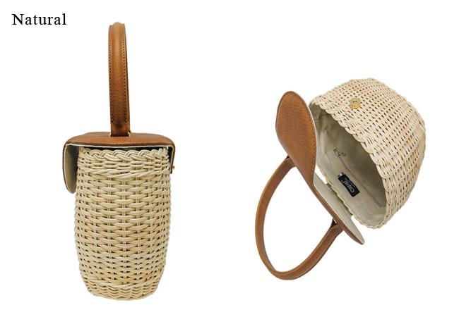 Capaf(カパフ)/かごバッグ ラタン蓋つきハンドバッグ