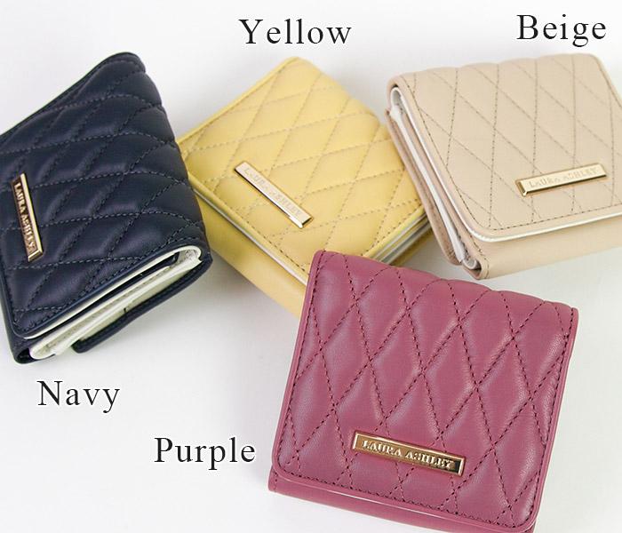 ローラアシュレイ/クラシックコレクション,3つ折り財布,かぶせ,キルティング,羊革,フェミニン,レディース