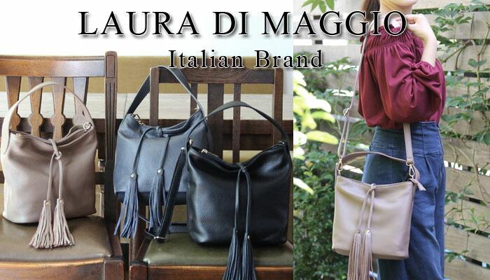LAURA DI MAGGIO(ローラ・ディ・マッジオ)/レザー ショルダー ハンドバッグ スタッズ ミニバッグ