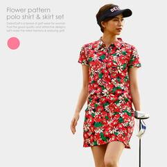 花柄ポロシャツ&スカートセット(RED)