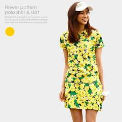 花柄ポロシャツ&スカートセット(YELLOW)