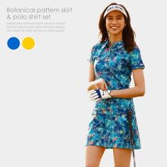 ボタニカル柄スカート&ポロシャツセット