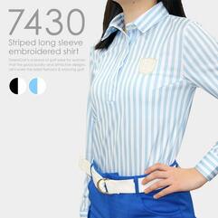 ストライプ柄長袖刺繍シャツ