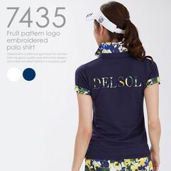 フルーツ柄ロゴ刺繍ポロシャツ