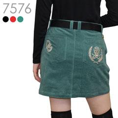 スカル刺繍コーデュロイストレッチスカート