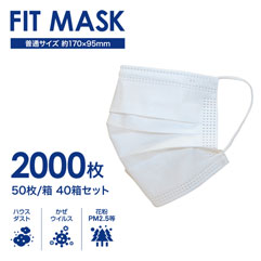 FIT MASK 不織布マスク40箱(2000枚)普通サイズ