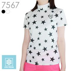 星柄半袖ハイネックシャツ