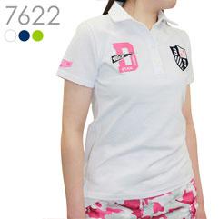 フェルト刺繍半袖鹿の子ポロシャツ