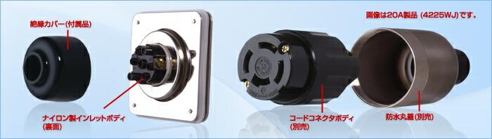 アメリカン電機 防水形フランジインレット (耐じん・噴流形) 3125WJ 銀