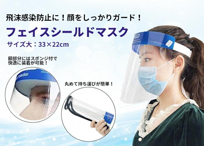 ANFACESLD1 飛沫感染防止に顔をしっかりガード!丸めて持ち運びが簡単!フェイスガード(サイズ小)