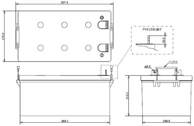独立型システム用ディープサイクルバッテリ PVXシリーズ 外形寸法